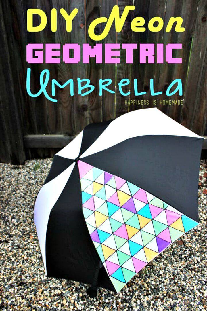 Make Neon Geometric Umbrella - DIY