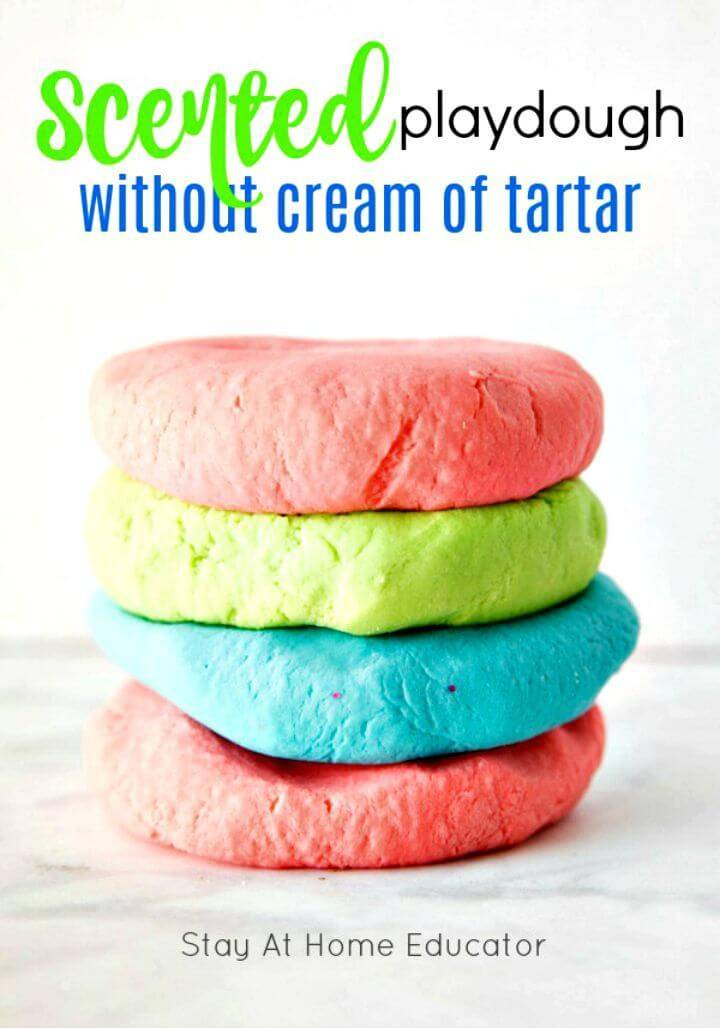 No-cook Scented Playdough without Cream Of Tartar