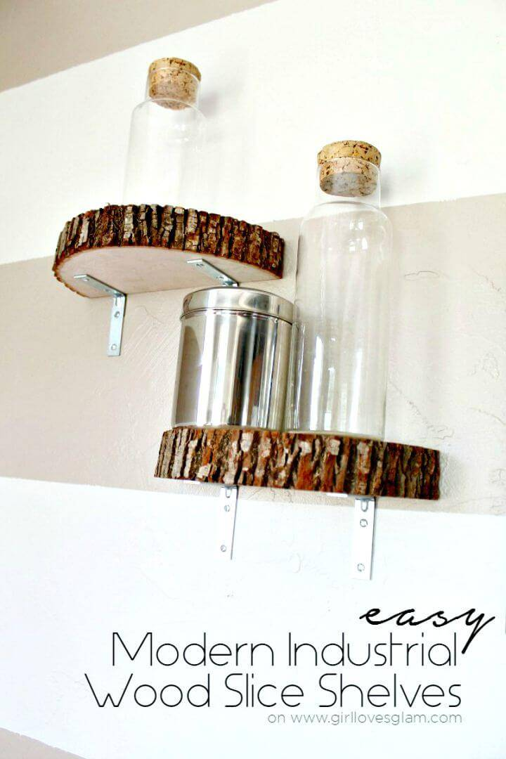 Modern DIY Industrial Wood Slice Shelf