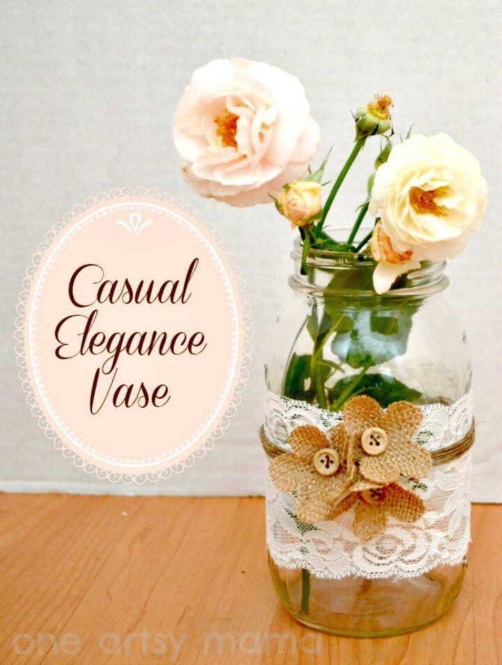 Pretty DIY Casual Elegance Mason Jar Vase