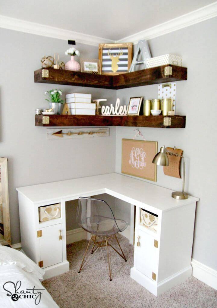 Pretty DIY Corner Desk - Wooden Furniture Plans