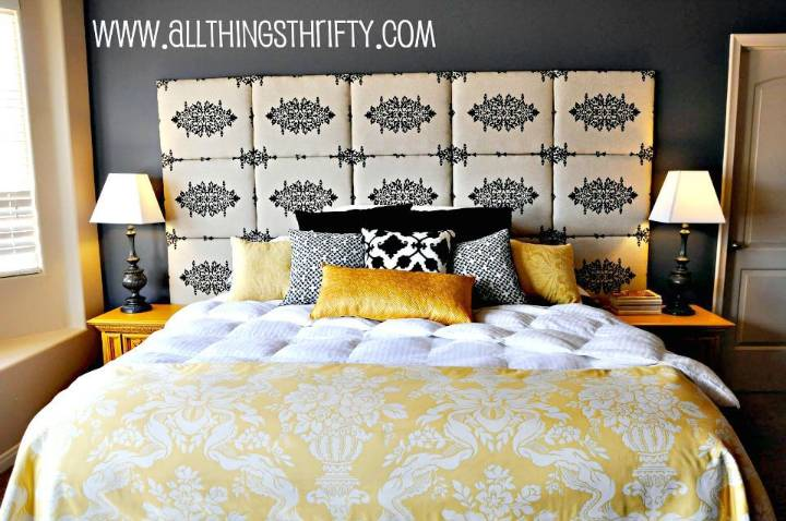 Pretty DIY Fabric Headboard