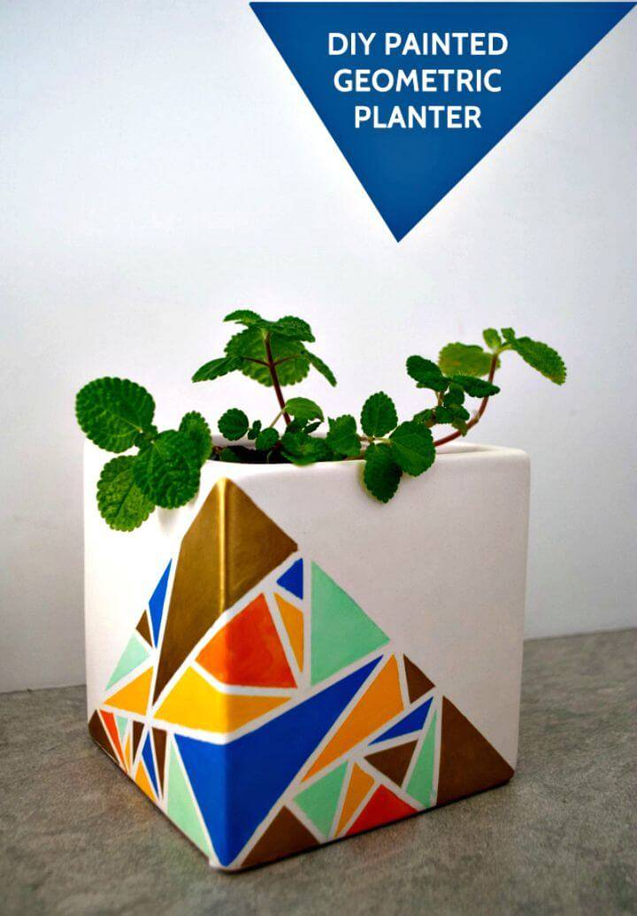 Pretty DIY Geometric Painted Planter