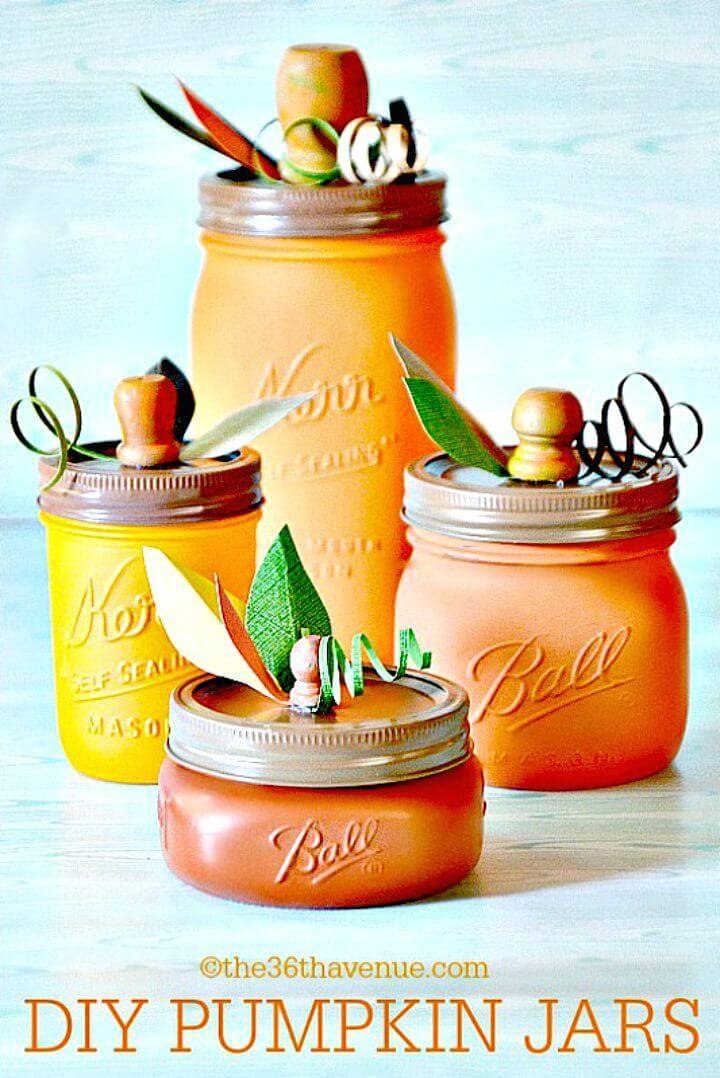 Pretty DIY Pumpkin Mason Jars