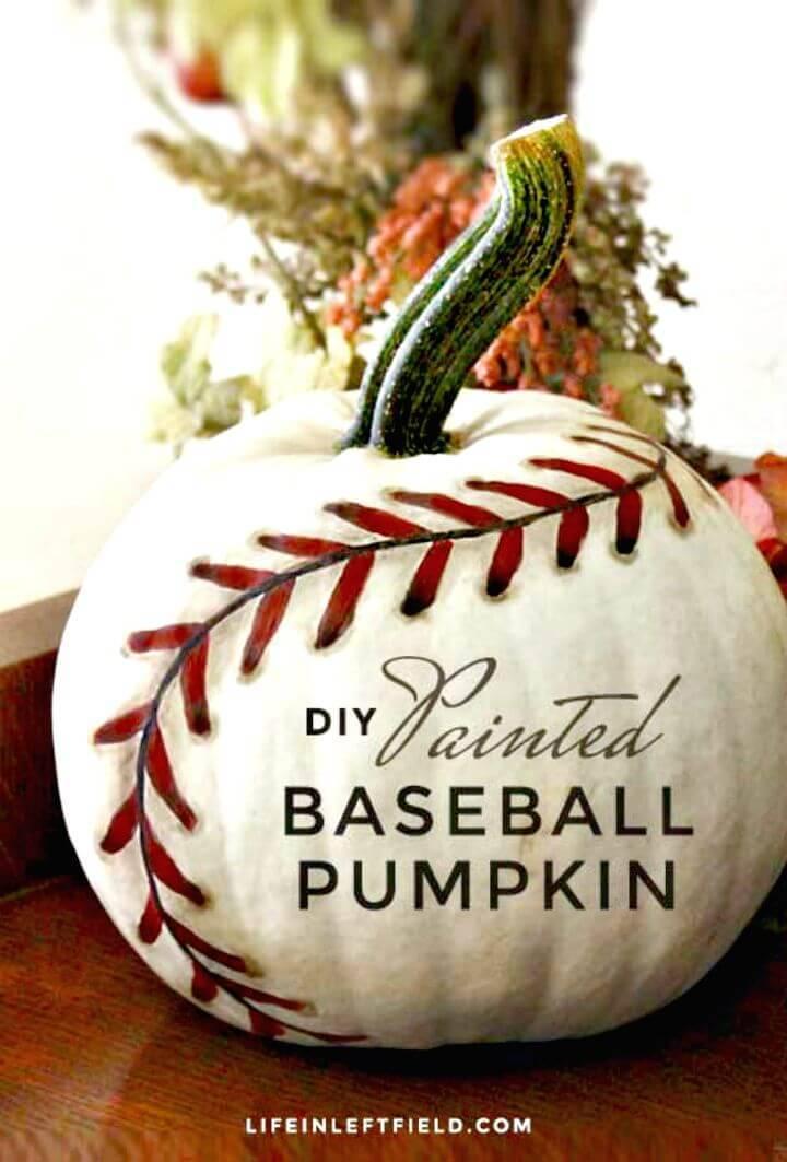DIY Painted Baseball Pumpkin