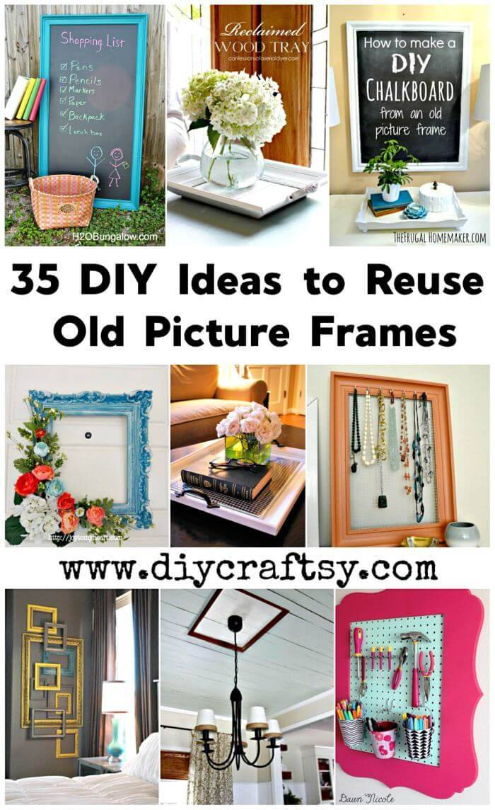 35 DIY Ideas to Reuse Old Picture Frames for DIY Projects, DIY Home Decor Projects, DIY Crafts, DIY Arts and Crafts, DIY Wooden Projects, DIY Ideas