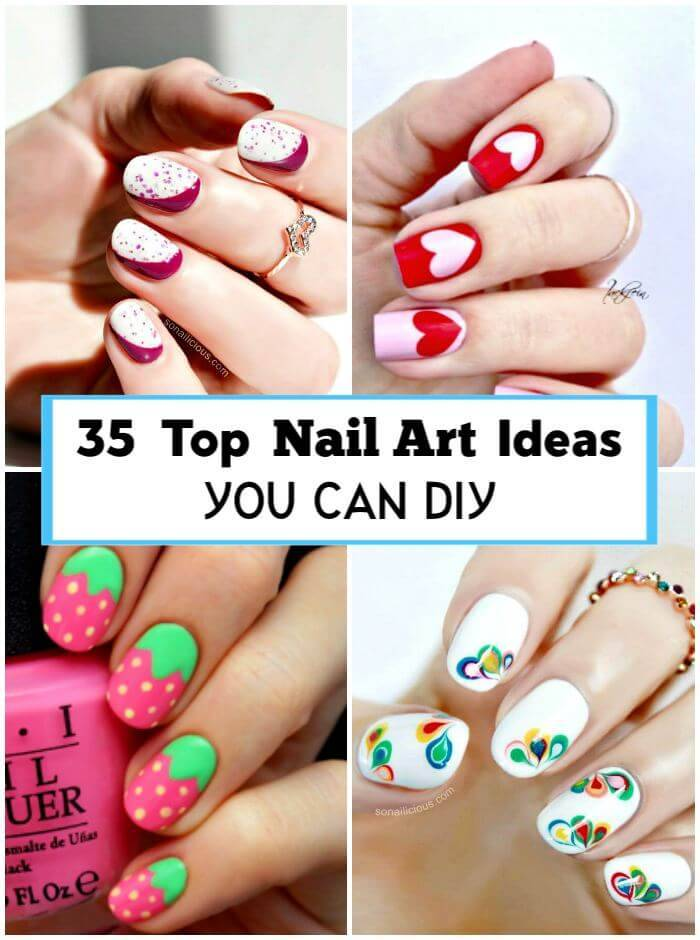 35 Top Nail Art Ideas You can DIY, Easy Nail Designs, DIY Fashion Projects, DIY Craft Ideas, DIY Crafts, DIY Projects