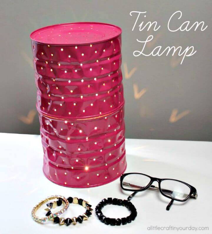 Beautiful DIY Tin Can Lamp