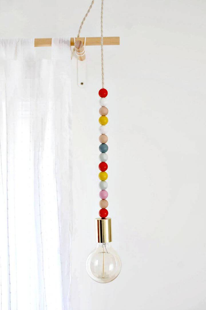 Cute DIY Wooden Bead Pendant Light - DIY Indoor Lighting