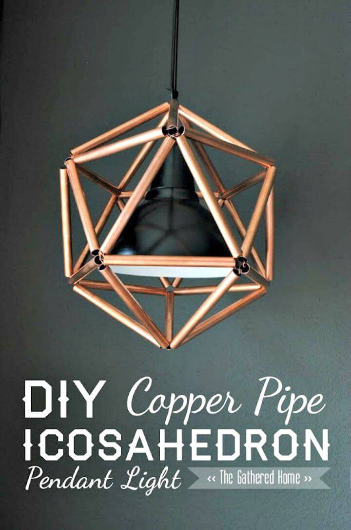 DIY Geometric Copper Pipe Pendant Light