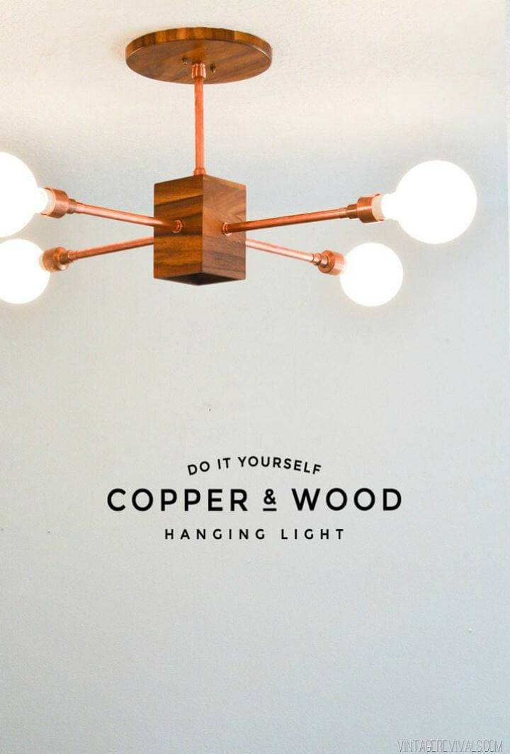DIY Copper and Wood Hanging Light Fixture - Indoor Lighting Ideas