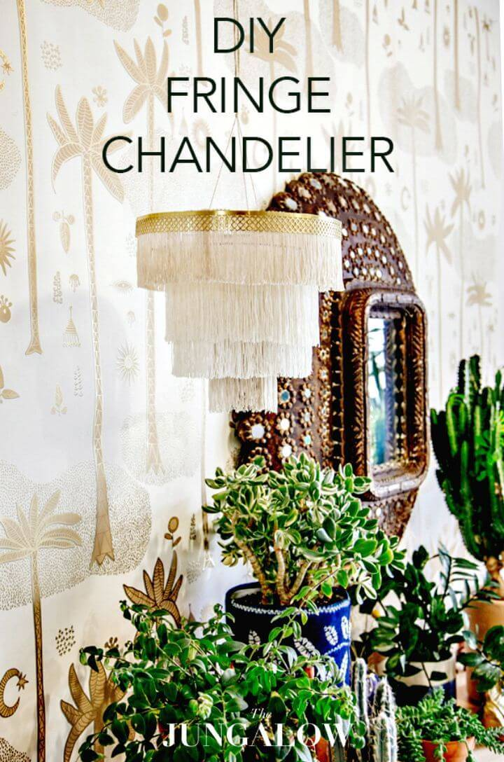 Pretty DIY Boho Fringe Chandelier - Indoor Lighting