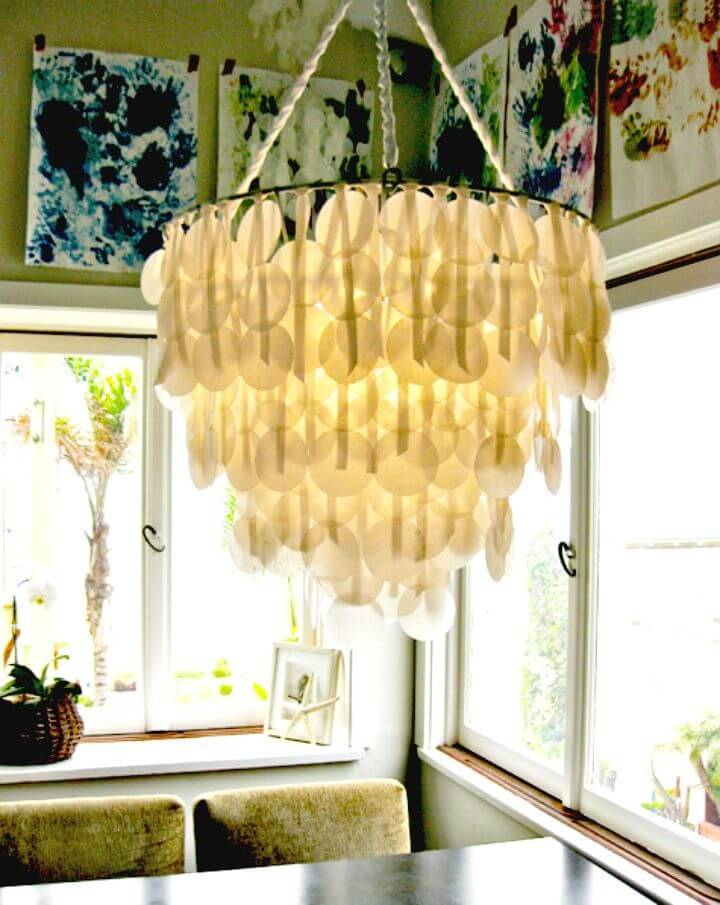Pretty DIY Brenna's Paper Capiz Shell Chandelier