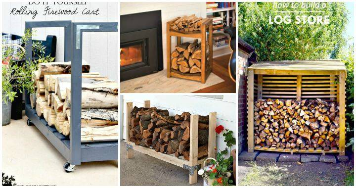 14 Best DIY Firewood Rack Ideas, DIY Firewood Storage Ideas, DIY Projects, DIY Craft Ideas, DIY Home Decor Projects
