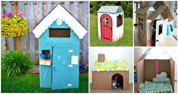 15 DIY Cardboard House Ideas, DIY Crafts, DIY Cardboard Playhouse Ideas, DIY Projects, DIY craft ideas for Kids, Kids Crafts