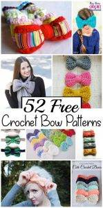 52 Free Crochet Bow Patterns, Crochet Bow Tie, Crochet Bow Headband, Crochet Bow Gift Bow Pattern, Free Crochet Patterns, DIY Crafts