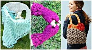 20 Free Crochet Patterns Using Crochet Crocodile Stitch, Crochet Hat, Crochet Blanket, Crochet Gloves, DIY Crafts