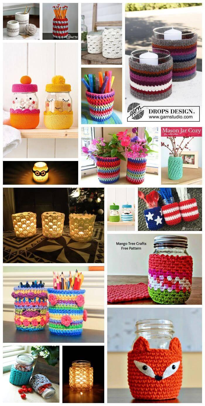 Crochet Jar Covers, 35 Free Mason Jar Cozy Patterns, Free Crochet Patterns,free crochet pattern mason jar, crochet lace jar cover, crochet jar lid covers, crochet candle cozy pattern