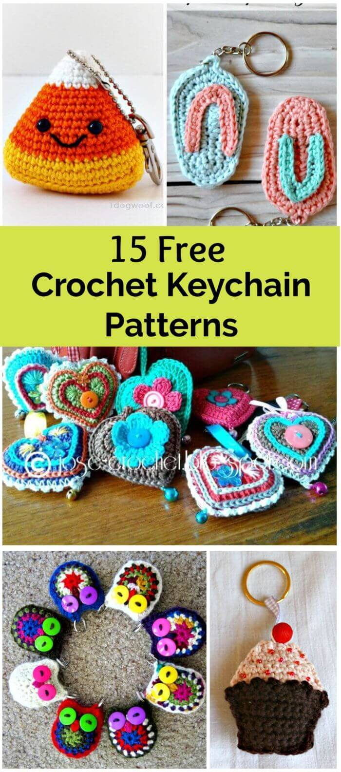 Crochet Keychain – 15 Free Crochet Patterns | Crochet mushroom ... | 1584x700