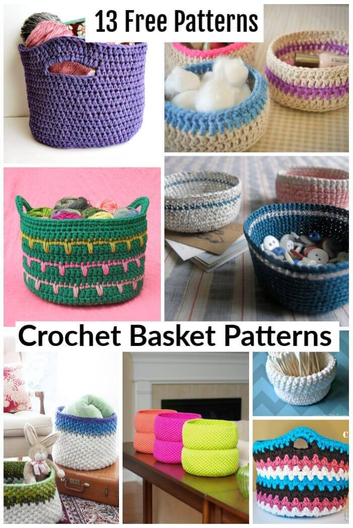 13 Free Crochet Basket Patterns, crochet basket with handles, free crochet patterns