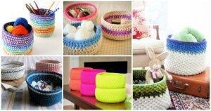 13 Free Crochet Basket Patterns, crochet basket with handles, free crochet patterns