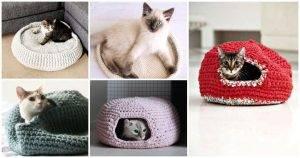 20 Free Crochet Cat Bed & House Patterns, crochet cat house, free crochet patterns (1)