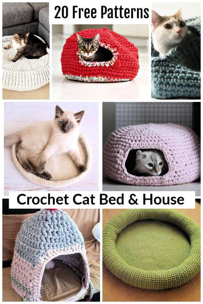 20 Free Crochet Cat Bed & House Patterns, crochet cat house, free crochet patterns