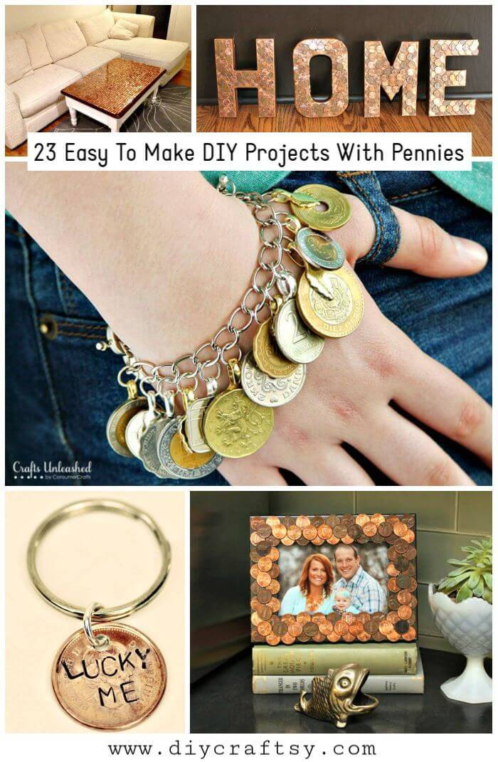 23 Easy To Make DIY Projects With Pennies, make coin crafts, decorating with pennies, crafts made with old coins
