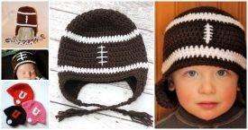 8 Free Crochet Football Hat Patterns, crochet football team hat pattern,crochet football helmet, crochet earflap hat