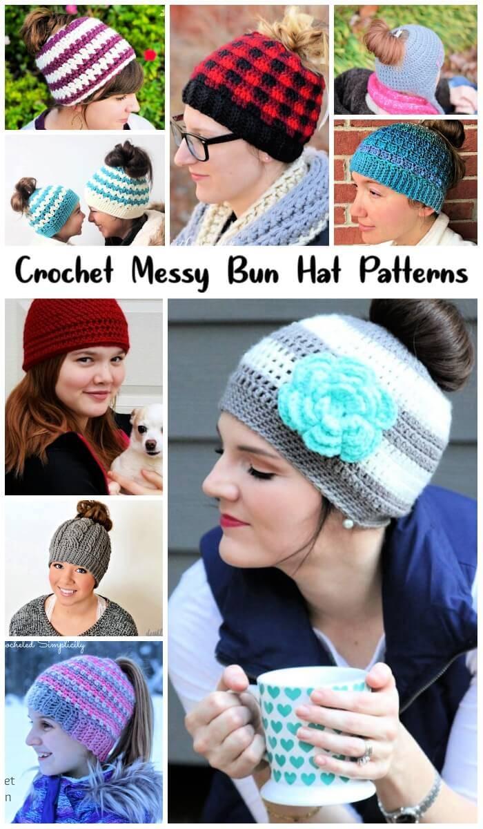 ef5773882 20 Free Crochet Messy Bun Hat Patterns - DIY Crafts