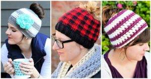 Crochet Messy Bun Hat Pattern - 20 Free Patterns, Free Crochet Patterns, Crochet Patterns, DIY Crafts, Easy Craft Ideas