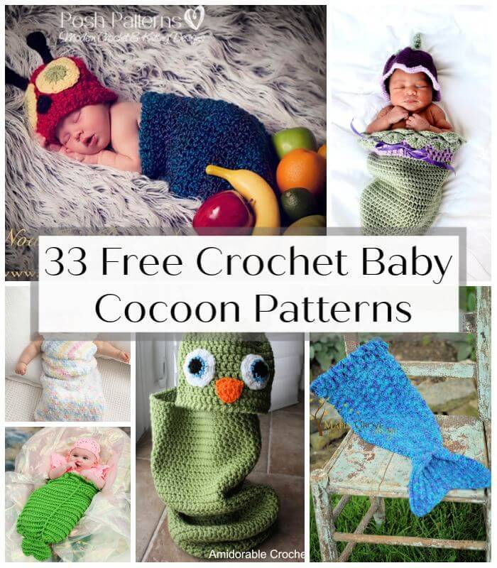 33 Free Crochet Baby Cocoon Patterns, Free Crochet Patterns, Free Patterns, Crochet Patterns, DIY Crafts