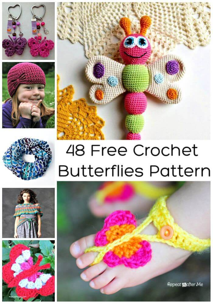 48 Free Crochet Butterflies Pattern, Free Crochet Patterns, Easy Crafts, Easy Craft Ideas, DIY Crafts