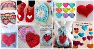 70 Cute Free Crochet Heart Patterns, Crochet Hearts, Free Crochet Patterns, Free Patterns, Crochet Patterns, DIY Crafts