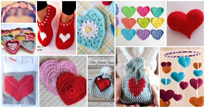 70 Cute Free Crochet Heart Patterns, Crochet Hearts, Free Crochet Patterns, Free Patterns, Crochet Patterns, DIY Crafts