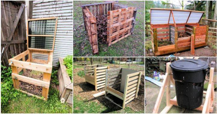 18 DIY Compost Bin Plans to Build Your New Compost Bin, garbage can compost bin, diy compost bin pallets, diy wooden compost bin ideas , DIY Crafts