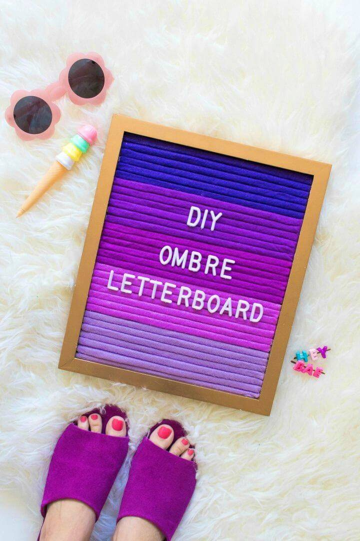 Adorable DIY Ombre Letterboard, make the boards or frames with recycled wood and then paint them and write custom letters or words on them to make ombre letter boards as you can see!