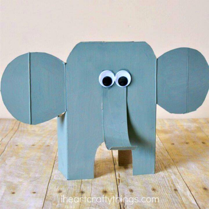 Awesome DIY Cereal Box Elephant Craft, recycle the cereal box to make mini cute elephant decors