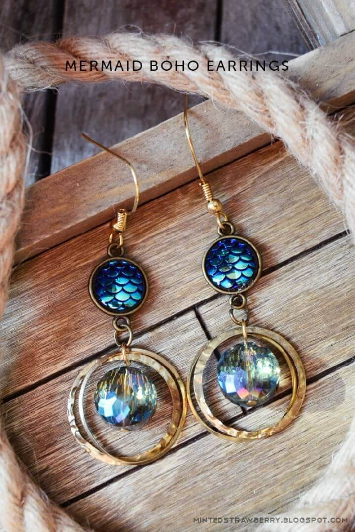 Awesome DIY Mermaid Boho Earrings, will make a great nautical piece of jewelry