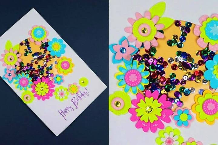 Beautiful DIY Birthday Card, flower art birthday card