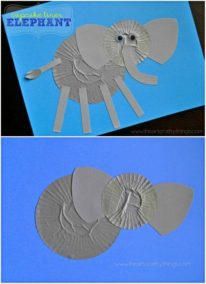Cute DIY Cupcake Liner Elephant Craft, make also the Cool Elephant art using cupcake liners