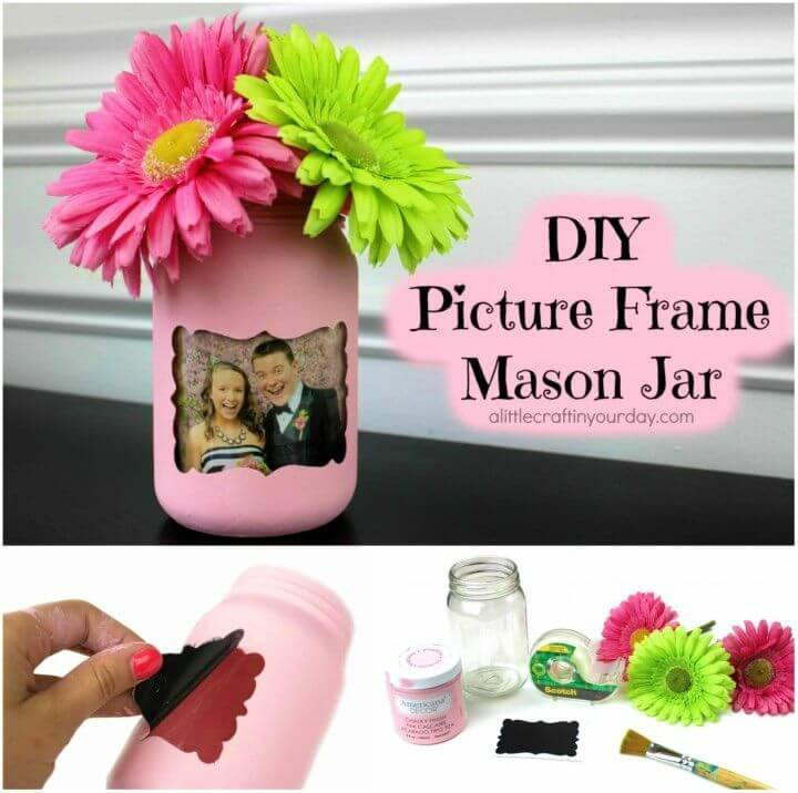 Cute DIY Picture Frame Mason Jar, If you love making vases with Mason jars then do make them with photos, will also be super gift worthy!