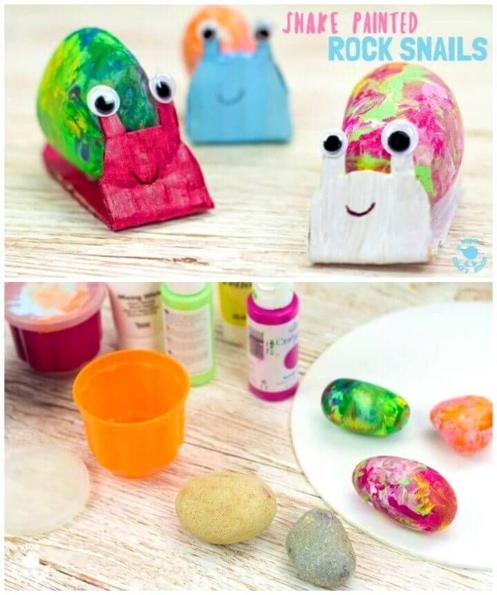Cute DIY Snail Rock Craft, painted rocks crafts