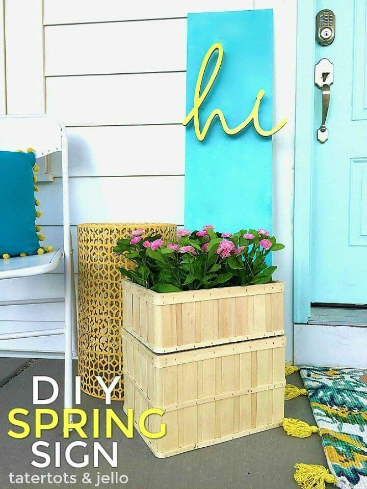 DIY 3-dimensional Spring Sign, bring the art vibes to your home with this handmade 3-dimensional spring sign, would also give a warm welcome to spring season!