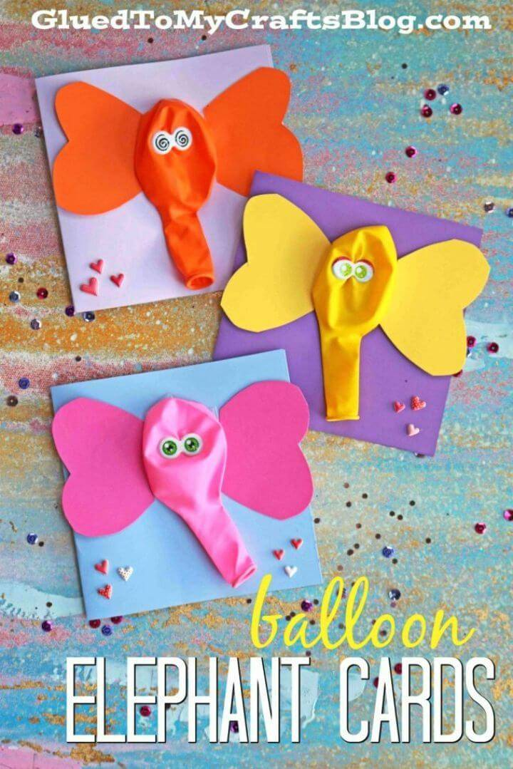 Coloful DIY Balloon Elephant Card that are super easy to make and come with googly eyes!