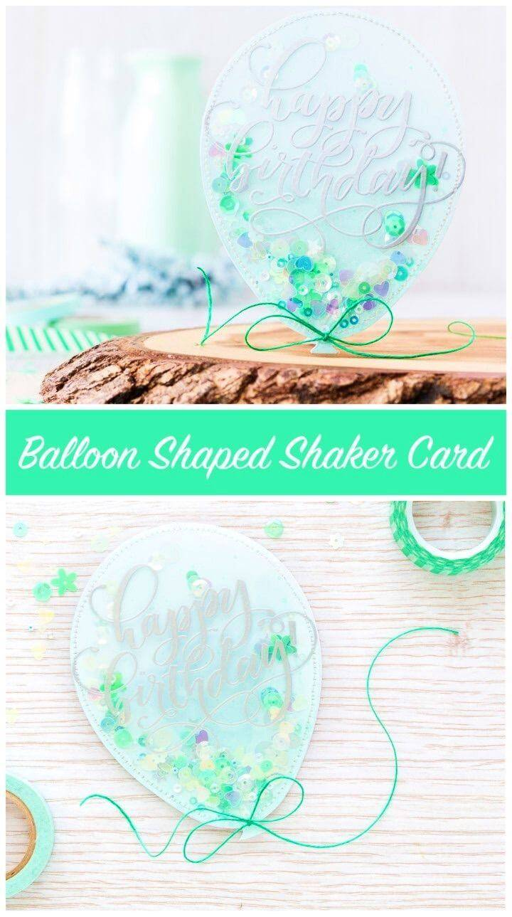 DIY Balloon Shaped Shaker Card, handmade birthday card