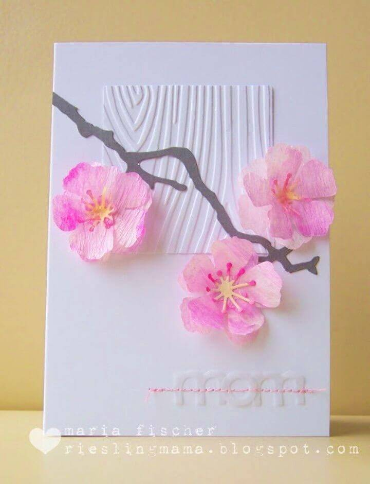 DIY Cherry Blossoms Birthday Card, how-to make birthday card