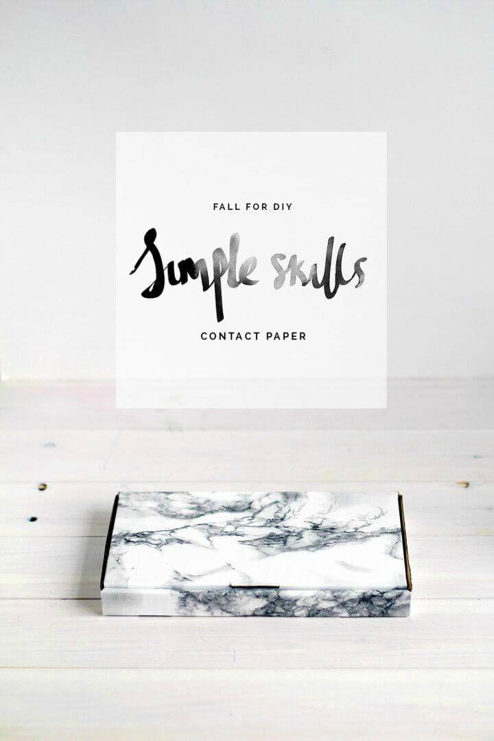 DIY Contact Paper Packaging, pack your items with the marble contact paper for a quick marbled appeal