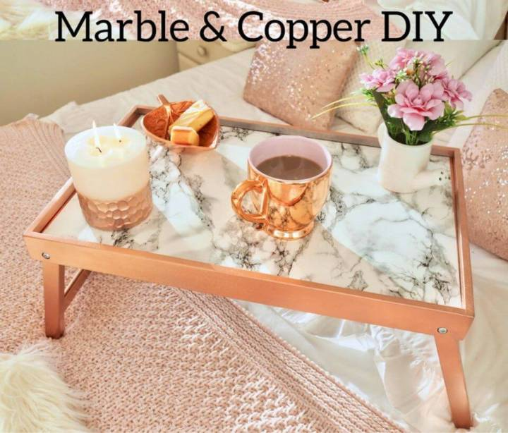 DIY Copper and Marble Pet Table, make also the faux marble tables for your pet by simply covering the tops of the wooden tables with marble contact paper!