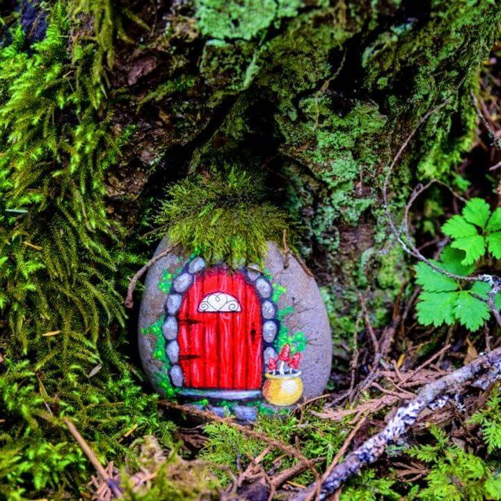 DIY Fairy Doors from Painted Rocks, rock painting patterns